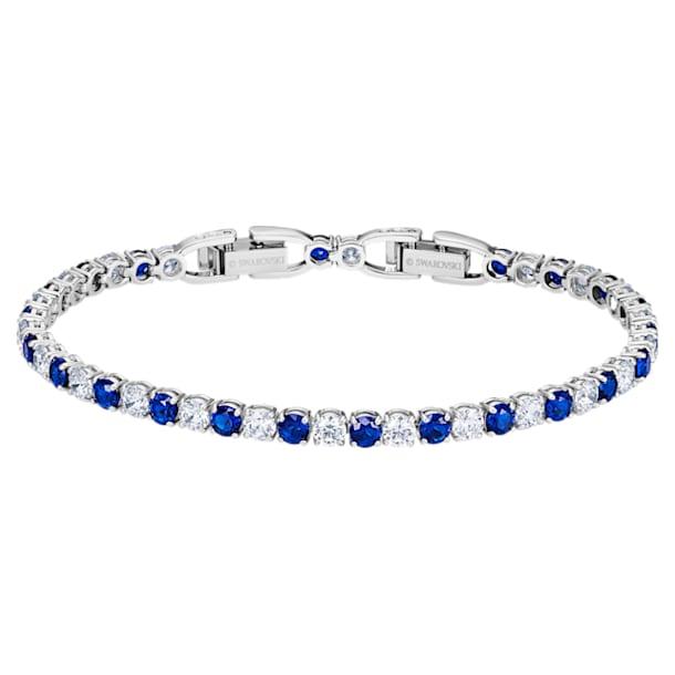 Tennis Deluxe Bracelet, Blue, Rhodium plated - Swarovski, 5506253