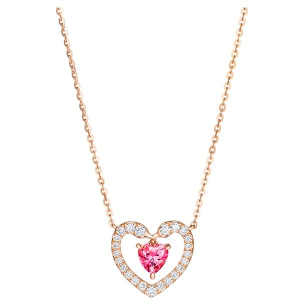 真爱之吻18K玫瑰金粉红托帕石 (热熔)钻石项链 - Swarovski, 5506557