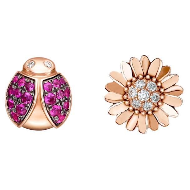 花舞之吻玫瑰金红宝石钻石耳环 - Swarovski, 5506564