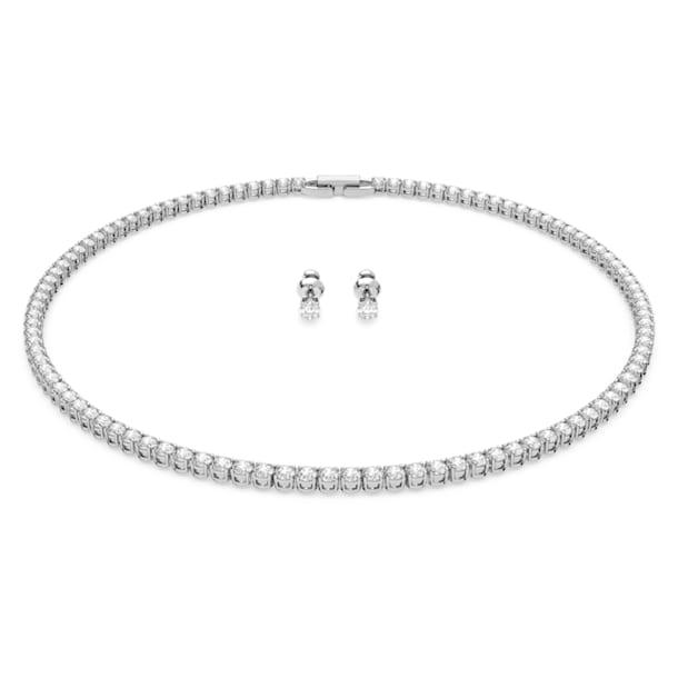 Tennis Deluxe set, Round, White, Rhodium plated - Swarovski, 5506861