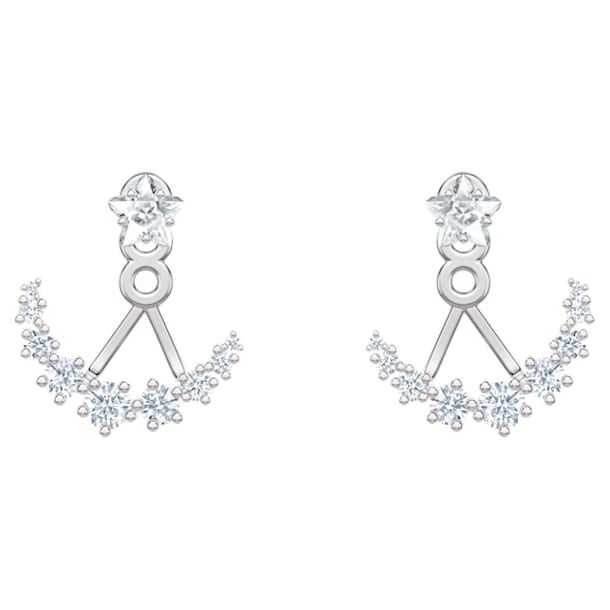 Pendientes Ear Jacket Moonsun, Blanco, Baño de rodio - Swarovski, 5508832