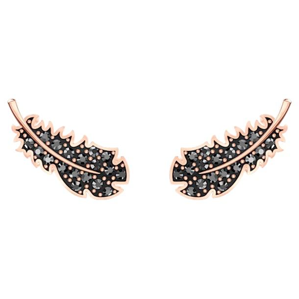 Naughty Pierced Earrings, Black, Rose-gold tone plated - Swarovski, 5509722