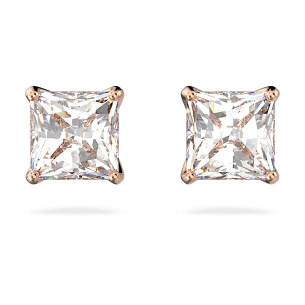 Pendientes de botón Attract, Cristal de talla cuadrada, pequeño, Blanco, Baño tono oro rosa - Swarovski, 5509935