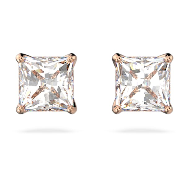 Attract stud earrings, Square cut crystal, Small, White, Rose gold-tone plated - Swarovski, 5509935