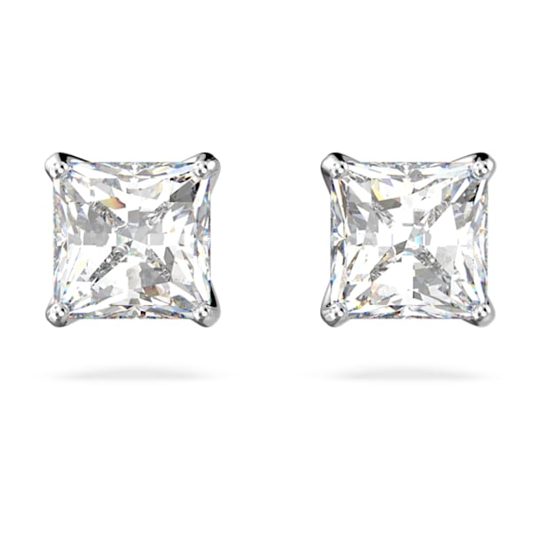 Attract Oorknopjes, Kristal met Square-slijpvorm, Wit, Rodium toplaag - Swarovski, 5509936