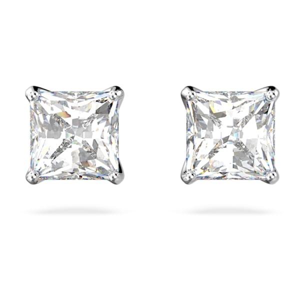 Pendientes de botón Attract, Cristal de talla cuadrada, pequeño, Blanco, Baño de rodio - Swarovski, 5509936