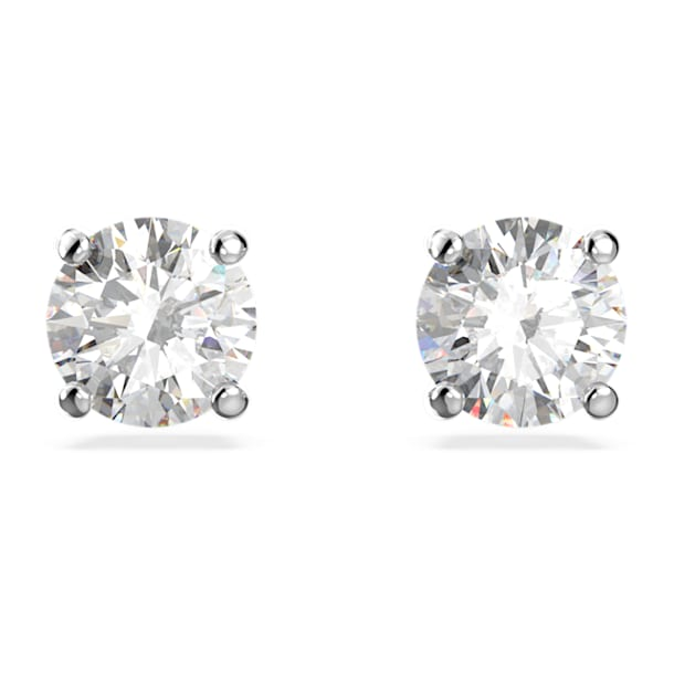Attract stud earrings, Round cut crystal, White, Rhodium plated - Swarovski, 5509937