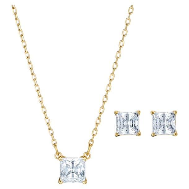 Parure Attract, Cristal taille carré, Blanc, Métal doré - Swarovski, 5510683