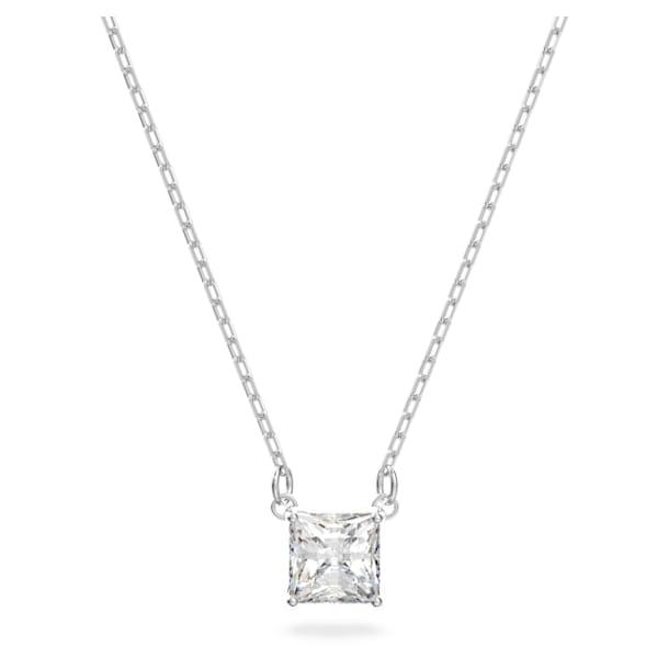 Attract necklace, Square, White, Rhodium plated - Swarovski, 5510696