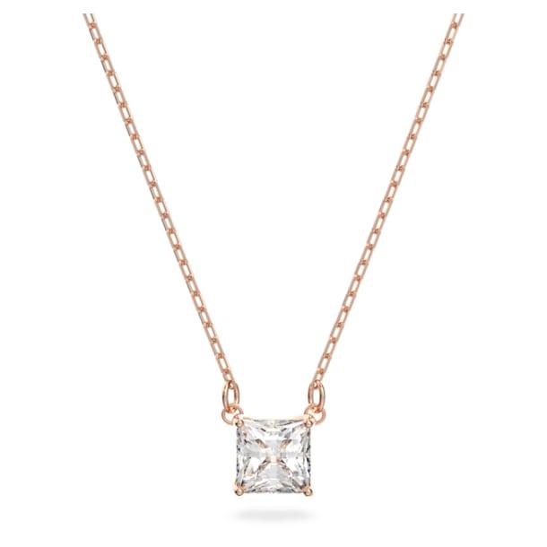 Κολιέ Attract, Τετράγωνο, Λευκό, Επιμετάλλωση σε ροζ χρυσαφί τόνο - Swarovski, 5510698