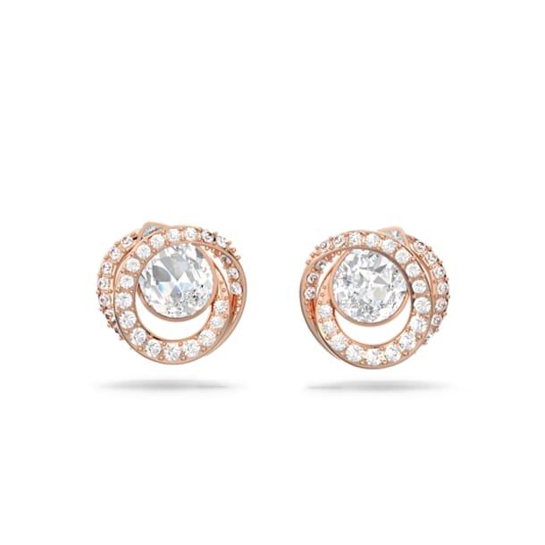 Generation stud earrings, White, Rose gold-tone plated - Swarovski, 5511012