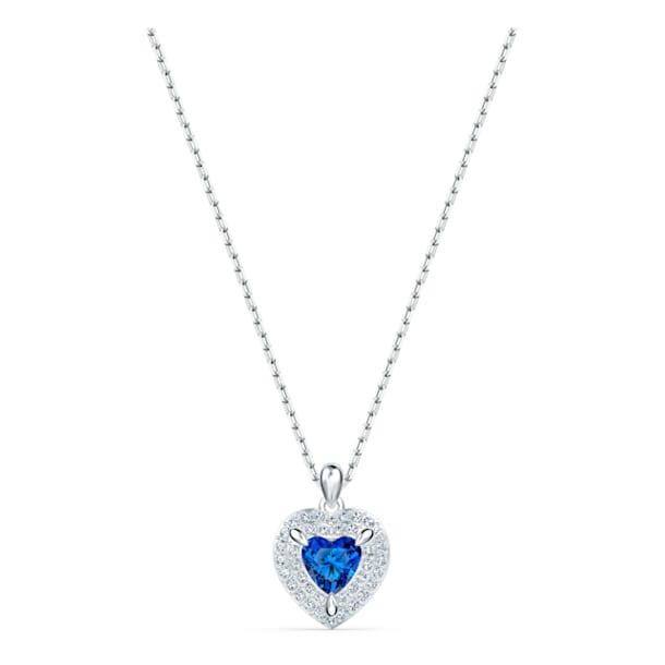 Colgante One, Corazón, Azul, Baño de rodio - Swarovski, 5511541