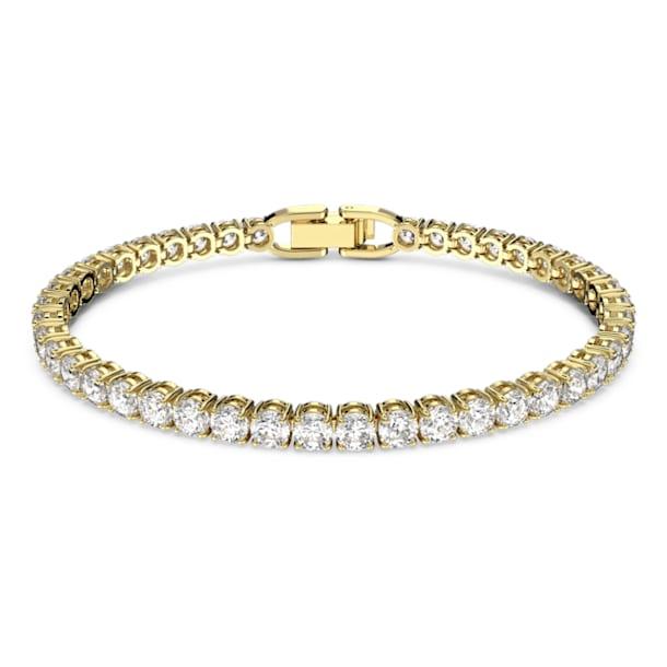 Tennis Deluxe bracelet, Round, White, Gold-tone plated - Swarovski, 5511544