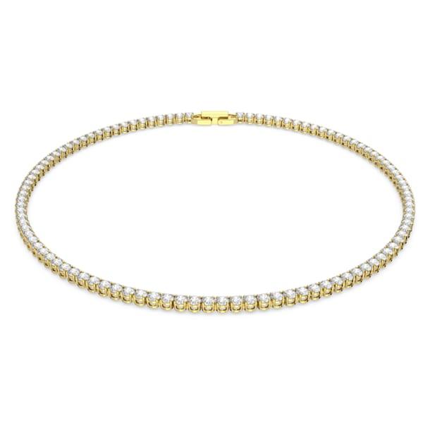 Naszyjnik Tennis Deluxe, Okrągły, Biały, Powłoka w odcieniu złota - Swarovski, 5511545