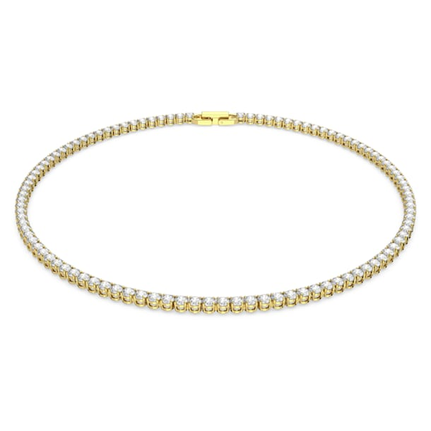 Tennis Deluxe necklace, Round, White, Gold-tone plated - Swarovski, 5511545