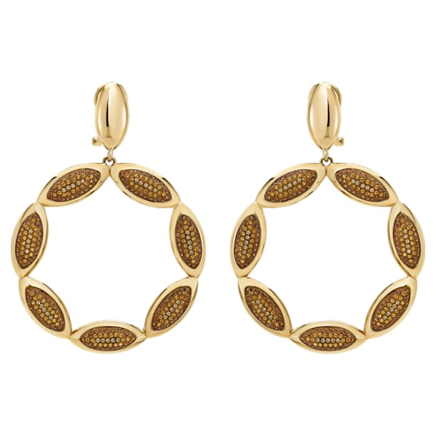 Evil Eye Hoop Pierced Earrings, Brown, Gold-tone plated - Swarovski, 5511550