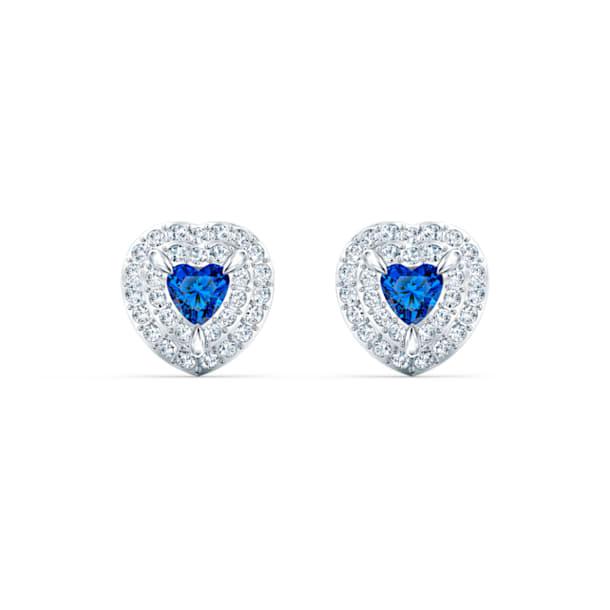Peckové vpichovací náušnice One, modré, rhodiované - Swarovski, 5511685