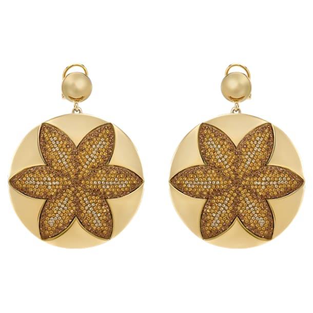 Evil Eye Disk Pierced Earrings, Large, Brown, Gold-tone plated - Swarovski, 5511787