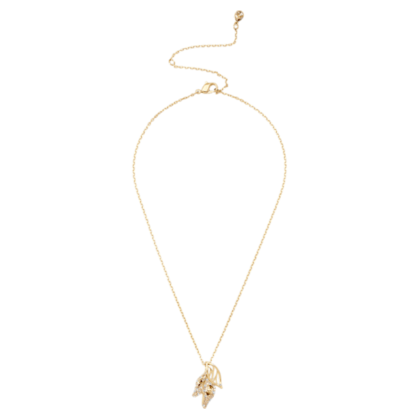 Graceful Bloom Pendant, Brown, Gold-tone plated - Swarovski, 5511813