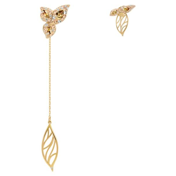 Graceful Bloom Mistmatched Earrings, Brown, Gold-tone plated - Swarovski, 5511818