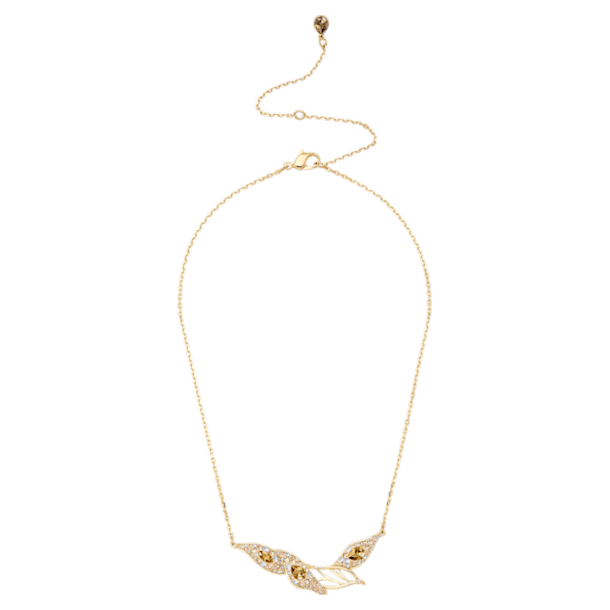 Graceful Bloom Necklace, Brown, Gold-tone plated - Swarovski, 5511820