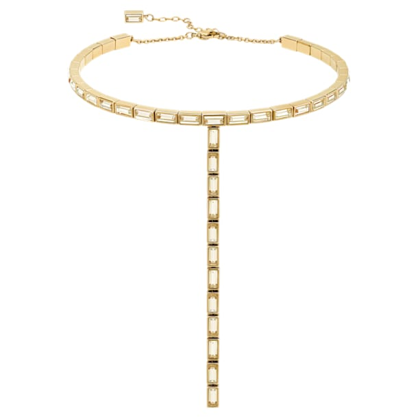 Fluid Necklace, Brown, Gold-tone plated - Swarovski, 5511891