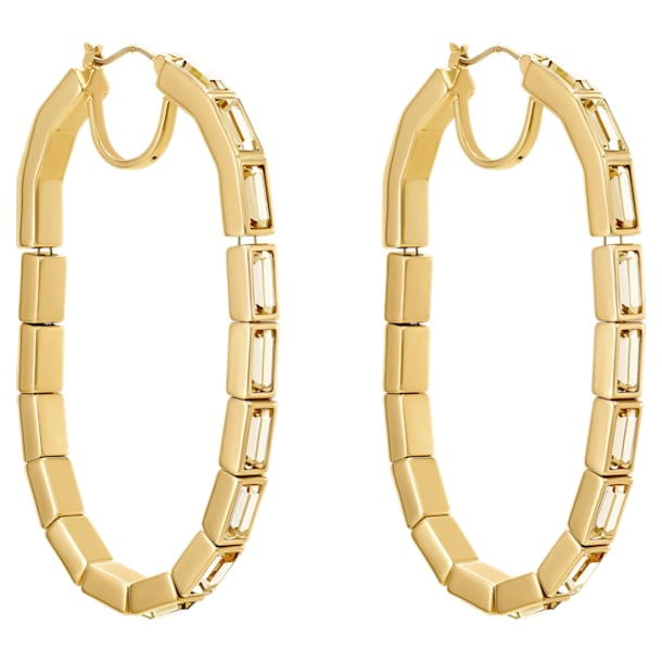 Fluid Hoop Pierced Earrings, Brown, Gold-tone plated - Swarovski, 5511934