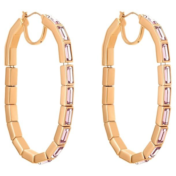 Fluid Hoop Pierced Earrings, Violet, Rose-gold tone plated - Swarovski, 5512003