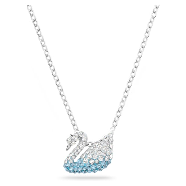 Swarovski Iconic Swan pendant, Swan, Small, Blue, Rhodium plated - Swarovski, 5512094