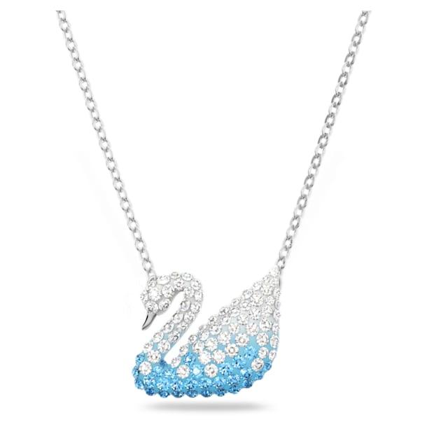 Swarovski Iconic Swan pendant, Swan, Blue, Rhodium plated - Swarovski, 5512095
