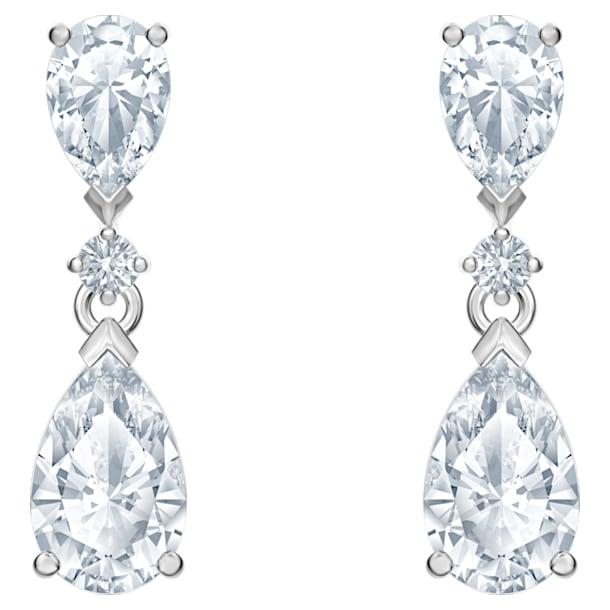 Attract Drop Pierced Earrings, White, Rhodium plated - Swarovski, 5512393