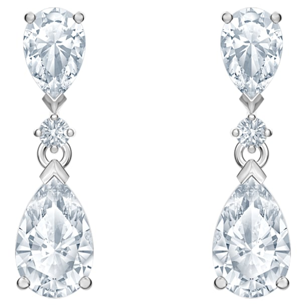 Attract Drop Pierced Earrings, White, Rhodium plated - Swarovski, 5512393