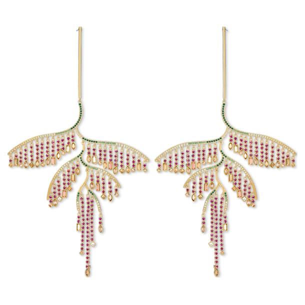 Tropical Leaf Pierced Earrings, Dark multi-colored, Mixed metal finish - Swarovski, 5512463