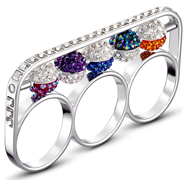 Spectacular Ring, Dark multi-colored, Rhodium plated,55 - Swarovski, 5512466