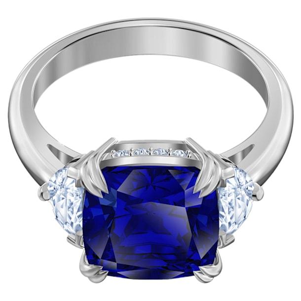 Bague cocktail Attract Trilogy, Cristal taille carré, Bleu, Métal rhodié - Swarovski, 5512566