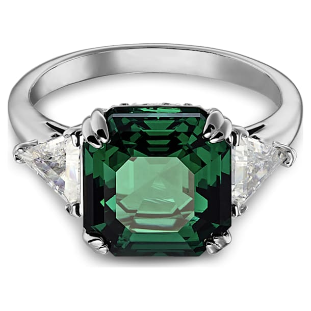 Attract Trilogy cocktail ring, Square cut crystal, Green, Rhodium plated - Swarovski, 5512574