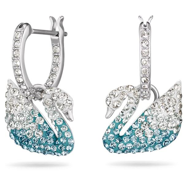 Swarovski Iconic Swan Серьги, Лебедь, Синий кристалл, Родиевое покрытие - Swarovski, 5512577