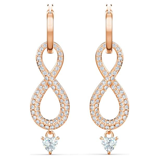 Swarovski Infinity 穿孔耳环, Infinity, 白色, 镀玫瑰金色调 - Swarovski, 5512625