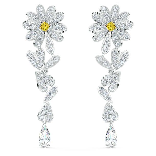 Eternal Flower 穿孔耳环, 花朵, 黄色, 多种金属润饰 - Swarovski, 5512655
