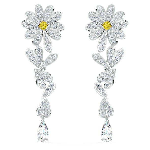 Boucles d'oreilles Eternal Flower, jaune, finition mix de métal - Swarovski, 5512655