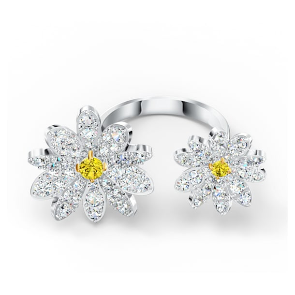 Anillo abierto Eternal Flower, Flor, Amarillo, Combinación de acabados metálicos - Swarovski, 5512656