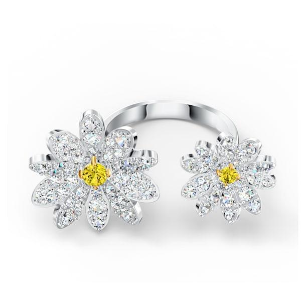 Eternal Flower open ring, Flower, Yellow, Mixed metal finish - Swarovski, 5512656