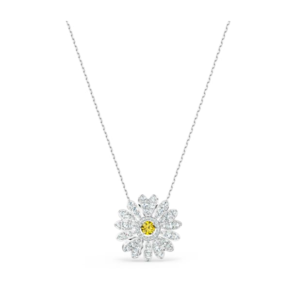 Eternal Flower pendant, Flower, Yellow, Rhodium plated - Swarovski, 5512660
