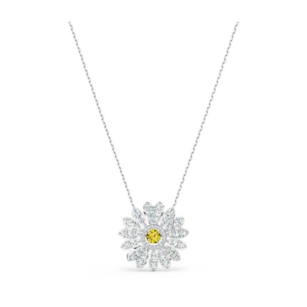 Eternal Flower 鏈墜, 黃色, 鍍白金色 - Swarovski, 5512660