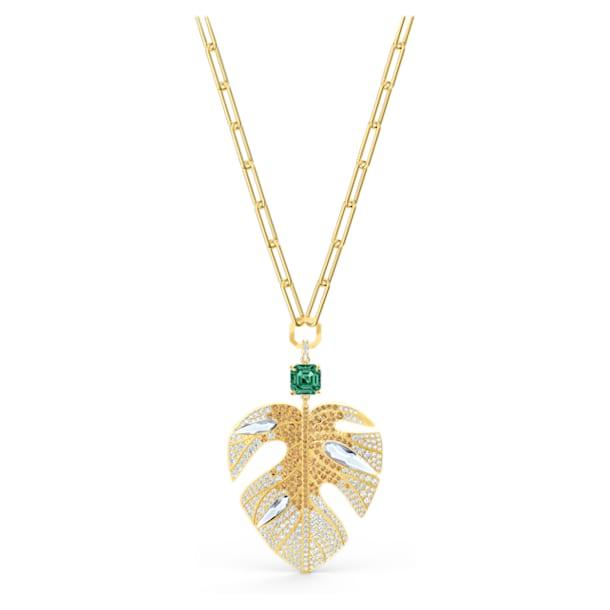 Tropical Leaf pendant, Leaf, Multicolored, Gold-tone plated - Swarovski, 5512695