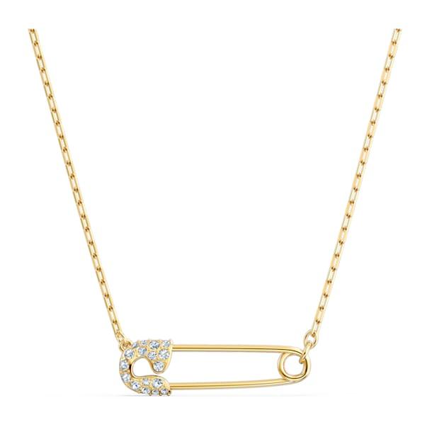 Colar So Cool Pin, branco, banhado a dourado - Swarovski, 5512760