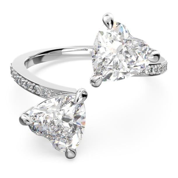 Attract Soul ring, Heart, White, Rhodium plated - Swarovski, 5512854