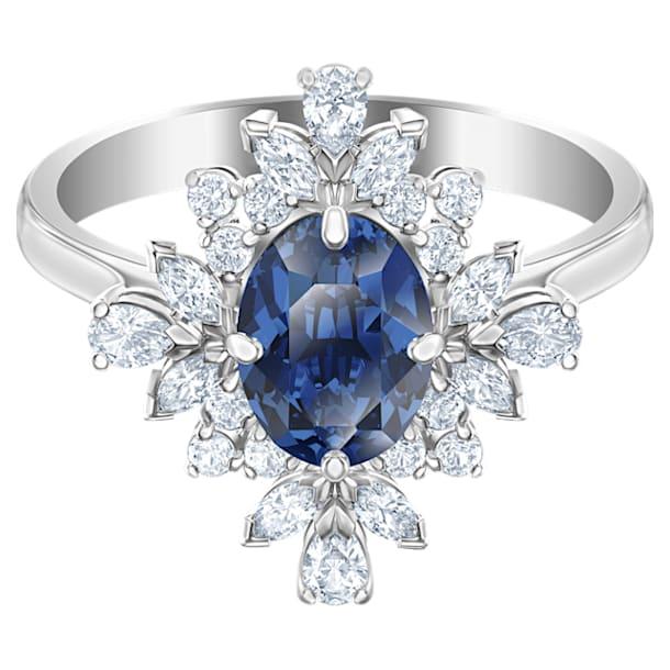 Prsten s motivem Palace, modrý, rhodiovaný - Swarovski, 5513211
