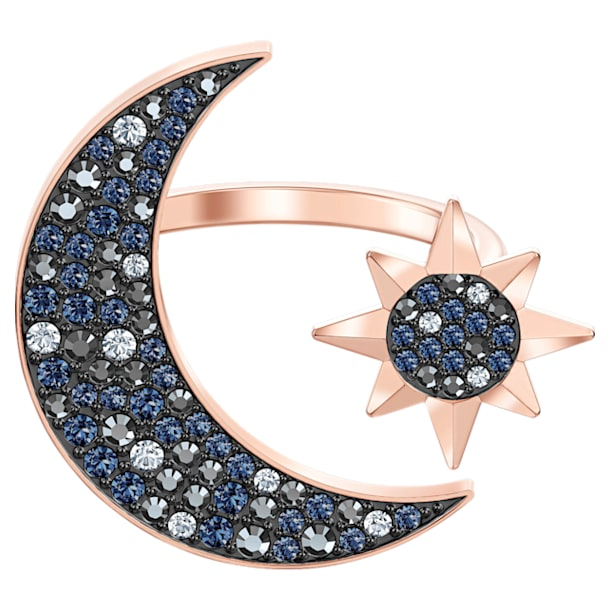 Swarovski Symbolic Moon Ring, Multi-colored, Rose-gold tone plated - Swarovski, 5513222