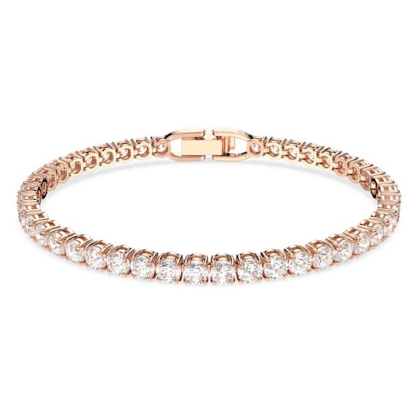 Tennis Deluxe bracelet, Round, White, Rose gold-tone plated - Swarovski, 5513400